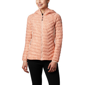Columbia Powder Pass Capuchon Jas Dames, peach cloud ferny ferns print